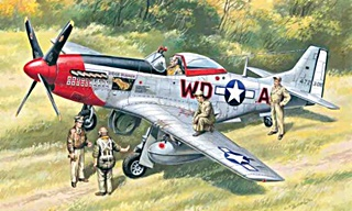 NORTH AMERICAN P51D MUSTANG + 5 FIGURINES 1/48